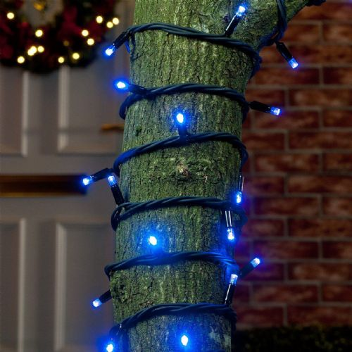 ConnectPro MV001 Blue Outdoor LED String Lights, Connectable, Black Rubber Cable
